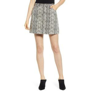 Blank NYC Denim Snakeskin Print Mini Skirt